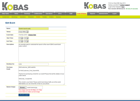 Screenshot of Kobas event creation form
