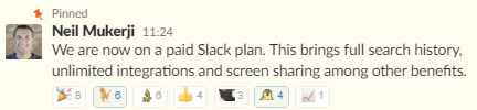 Team's reaction to the announcement we were upgrading to the paid Slack plan